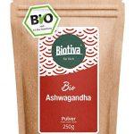 Ashwagandha Bio Pulver (250g) - Ashwagandawurzel-Pulver - Schlafbeere - Ayurveda - indischer Ginseng - im wiederverschließbaren Zippbeutel - abgefüllt und kontrolliert in Deutschland (DE-ÖKO-005)