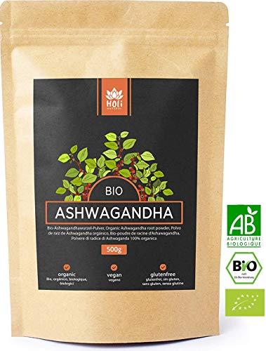 Holi Natural® Premium BIO Ashwagandha Wurzel Pulver - 500g und 250g - ECHTE Indische Withania Somnifera aus kontrolliert biologischem Anbau - im biologisch abbaubaren wiederverschließbaren Beutel