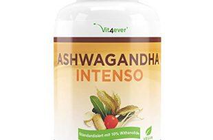Vit4ever® Ashwagandha Intenso - 180 Kapseln - 1500 mg Extrakt pro Tagesportion - 10% Withanoliden - Laborgeprüfter Wirkstoffgehalt - Aswaganda in Premium Qualität - Vegan - Hochdosiert - Schlafbeere