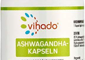 Vihado Ashwagandha Kapseln hochdosiert, Extrakt aus der Wurzel mit 1.225mg Withanolide pro Kapsel, Schlafbeere Winterkirsche, Vegan und ohne Magnesiumstearat, 90 Kapseln