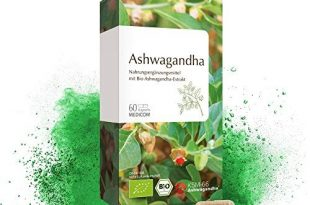 MEDICOM BIO Ashwagandha 60 Kapseln • Bio zertifiziert • 1000 mg Schlafbeere Extrakt Pulver pro Tagesdosis • mind. 5 % Withanoliden • 1-Monatsvorrat